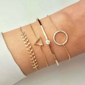 """Sabrina"" Geometric Minimalist Layered Bracelets"